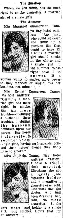 "Newspaper article from 1928 asking young ladies ""Which do you think has the most right to smoke cigarettes, a married girl or a single girl?"" three ladies answered, shows each portrait."