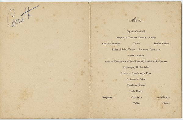 dinner menu card from TBH in honor of C.W. Fairbanks, Vice President of the United States by his friends of the City of Tampa