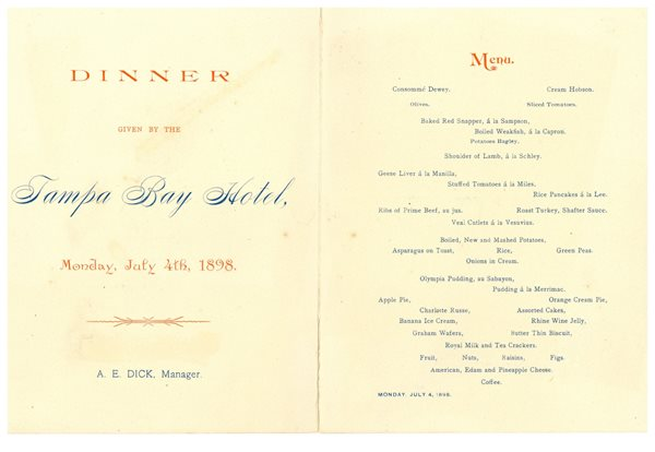 Dinner Menu Card from TBH Monday July 4th 1898