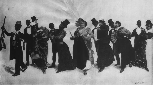 formally dressed dark skinned couples, men with top hats and ladies with fans, theatrically dancing in a line.