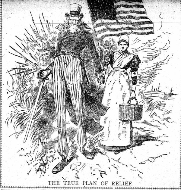 "Cartoon of Uncle Sam leading red cross nurse thru Cuban jungle. Captioned ""The True Plan of Relief"""
