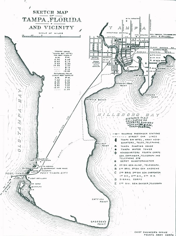 Sketch map of Tampa with Plant System rail line from downtown to Port Tampa City