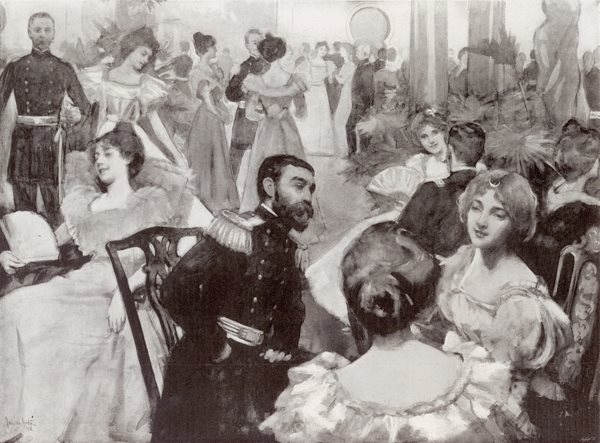 Illustration of social gathering. Soldiers entertaining ladies at the Tampa Bay Hotel